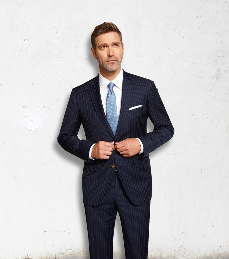 16482e18 Maxdavoli by MaxMan Blue Stripe Suit