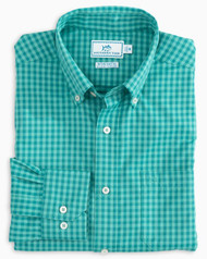 Southern Tide Cookout Gingham Intercoastal Performance Sport Shirt - Tidewater