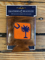 Smathers and Branson Needlepoint Coozie - SC Palmetto - Orange/Purple