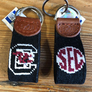 Smathers and Branson Needlepoint Key Fob - South Carolina Block C/SEC on Black