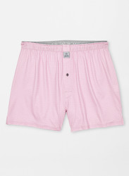 Peter Millar Nebraska Printed Gingham Check Stretch Jersey Boxer - Palmer Pink
