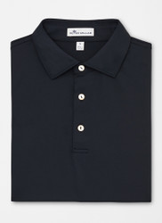 Peter Millar Solid Stretch Mesh Polo - Black