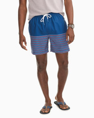 Southern Tide Fireworks Stripe Swim Trunk - Blue Lake