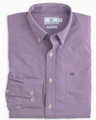 Southern Tide Pino Micro Gingham Intercoastal Performance Sport Shirt - Royal Purple