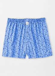 Peter Millar Stretch Jersey Landmark Printed Tailgate Boxer - Liberty Blue