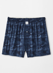 Peter Millar Stretch Jersey Haymaker Printed Camo Boxer - Navy