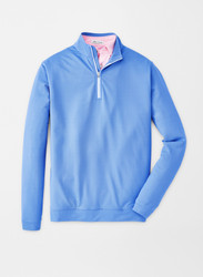 Peter Millar Herringbone Perth Performance Quarter-Zip - Liberty Blue