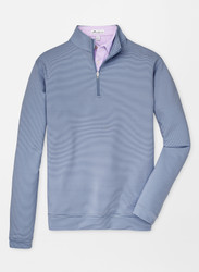 Peter Millar  Perth Mini-Stripe Stretch Loop Terry Quarter-Zip - Navy/White