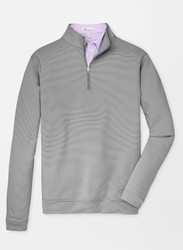 Peter Millar Perth Mini-Stripe Stretch Loop Terry Quarter-Zip - Iron/White