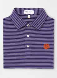 Peter Millar Clemson Mascot Stripe Stretch Performance Polo - Purple