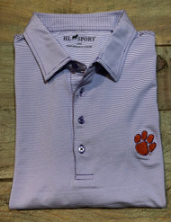 Horn Legend Small Stripe Polo - Purple - Clemson Paw