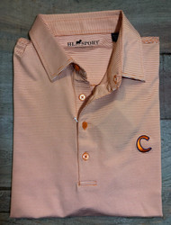 Horn Legend Small Stripe Polo - Orange - Clemson C