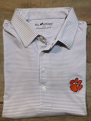 Horn Legend Medium Stripe Polo - Purple - Clemson Paw