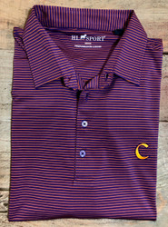 Horn Legend Medium Stripe Polo - Purple/Orange - Clemson C