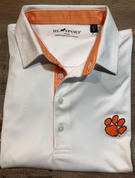 Horn Legend Gingham Polo - White - Clemson Paw