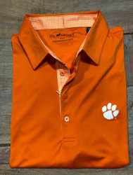Horn Legend Gingham Polo - Orange - Clemson Paw