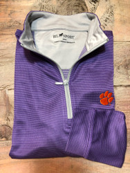 Horn Legend Dot-Stripe Clemson Quarter Zip Pullover - Purple