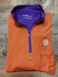 Horn Legend Stripe Clemson Quarter Zip Pullover - Orange with Purple