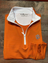 Horn Legend Stripe Clemson Quarter Zip Pullover - Orange