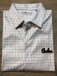 "Horn Legend University of South Carolina ""Script"" Tattersall Polo - Garnet, White, Charcoal"
