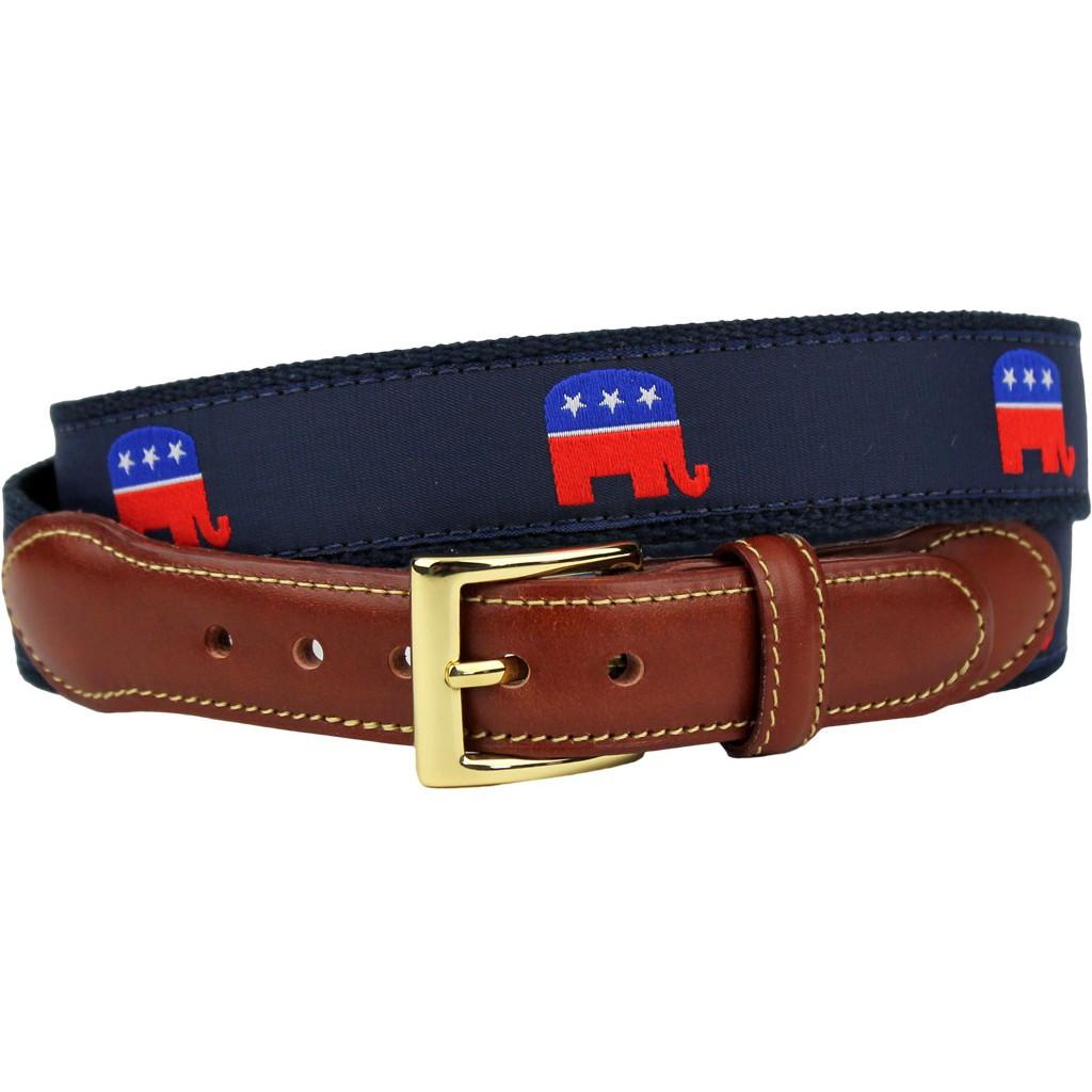 GOP Republican Elephant Leather Tab Belt - Craig Reagin Clothiers 477d33529a
