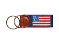 Smathers & Branson American Flag Needlepoint Key Fob - Navy