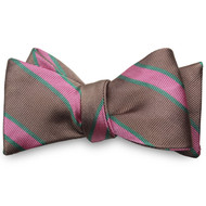 Private Stock Silk Bow - Brown and Pink Stripe
