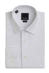 David Donahue Super Fine Twill Pocket Barrel Cuff Trim Fit Dress Shirt - White