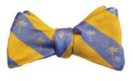 Palmetto Striped Bowtie - Yellow/Sky Blue