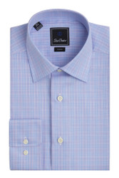 David Donahue Pop Deco Plaid Barrel Cuff Trim Fit Dress Shirt