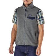 Patagonia Men's Lightweight Synchilla® Snap-T® Fleece Vest - Nickel w/ Navy Blue