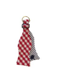Craig Reagin Bow Tie Key Fob - Red Gingham/Blue Stripe Palmetto