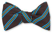 R Hanauer Brown Wool/Silk Augusta Stripe Bowtie