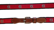USC Gamecock Classic Canvas Belt with Leather Tab
