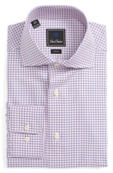 David Donahue Trim Spread Collar Dress Shirt - Pink/Blue Check