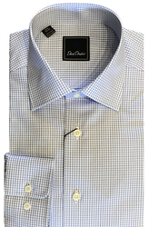 David Donahue Spread Collar Dress Shirt - Blue/Lilac Check