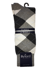 Byford Socks - Argyle - Grey/Blue
