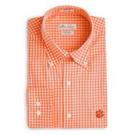 Peter Millar Clemson Nanoluxe Check Woven Shirt - Orange