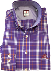 Clemson University Laying Tiger Plaid - Purple