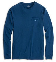 Southern Tide Embroidered Long Sleeve Pocket Tee - Yacht Blue