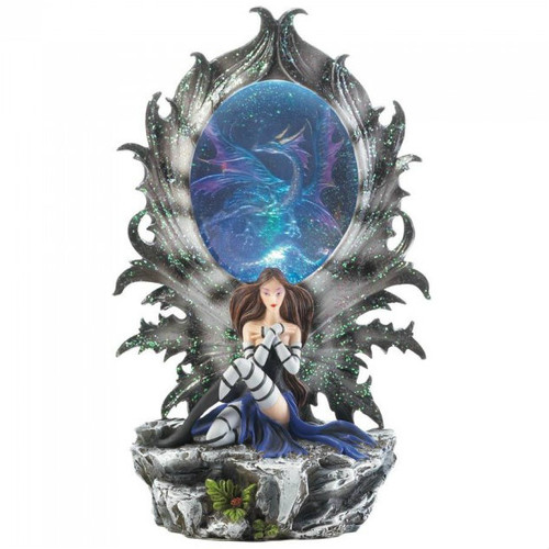 Light-Up Fairy and Dragon Figurine with Portal