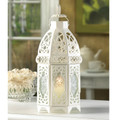 Lacy Cutout White Candle Lantern - 12 inches