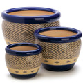 Blue Ceramic Diamond Pattern Planter Set