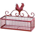 Single Basket Red Rooster Iron Wall Rack