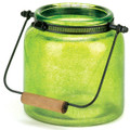 Speckled Green Glass Jar Candle Lantern - 6.5 inches