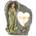 Angel with Cross Stone-Look Solar Garden Light