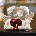 Cherubs Figurine with Heart Gem
