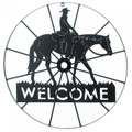 Cowboy Wagon Wheel Welcome Sign