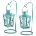 Hanging Railroad Lanterns Pair - Baby Blue