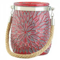 Flower Candle Holder with Rope Handle - Red